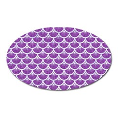 Scales3 White Marble & Purple Denim Oval Magnet