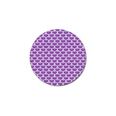 Scales3 White Marble & Purple Denim Golf Ball Marker by trendistuff