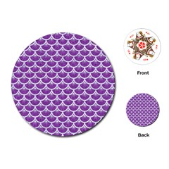 Scales3 White Marble & Purple Denim Playing Cards (round)  by trendistuff