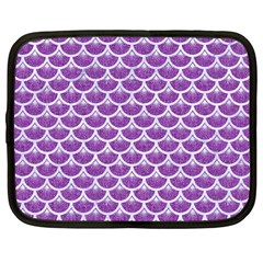 Scales3 White Marble & Purple Denim Netbook Case (large)