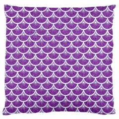 Scales3 White Marble & Purple Denim Large Cushion Case (one Side) by trendistuff