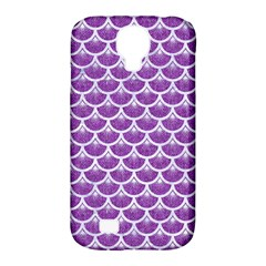 Scales3 White Marble & Purple Denim Samsung Galaxy S4 Classic Hardshell Case (pc+silicone)