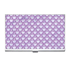 Scales2 White Marble & Purple Denim (r) Business Card Holders