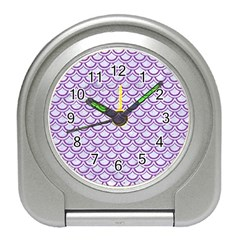 Scales2 White Marble & Purple Denim (r) Travel Alarm Clocks by trendistuff