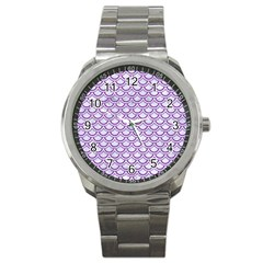 Scales2 White Marble & Purple Denim (r) Sport Metal Watch by trendistuff