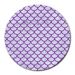 Scales1 White Marble & Purple Denim (r) Round Mousepads by trendistuff