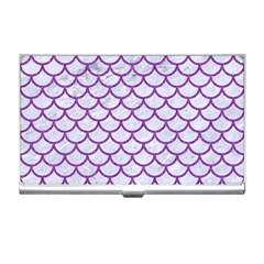 Scales1 White Marble & Purple Denim (r) Business Card Holders
