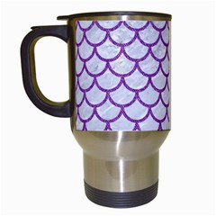 Scales1 White Marble & Purple Denim (r) Travel Mugs (white) by trendistuff