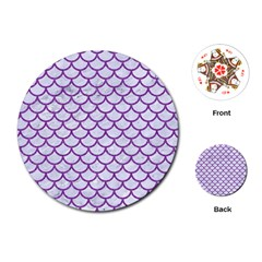 Scales1 White Marble & Purple Denim (r) Playing Cards (round)  by trendistuff