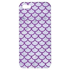 Scales1 White Marble & Purple Denim (r) Apple Iphone 5 Hardshell Case by trendistuff