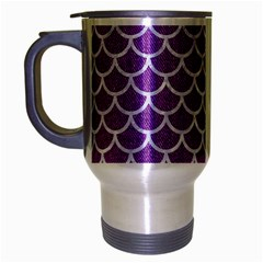 Scales1 White Marble & Purple Denim Travel Mug (silver Gray) by trendistuff