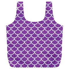Scales1 White Marble & Purple Denim Full Print Recycle Bags (l)  by trendistuff