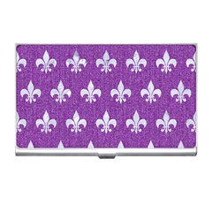 Royal1 White Marble & Purple Denim (r) Business Card Holders by trendistuff