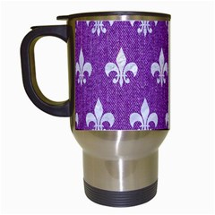 Royal1 White Marble & Purple Denim (r) Travel Mugs (white) by trendistuff