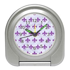 Royal1 White Marble & Purple Denim Travel Alarm Clocks by trendistuff