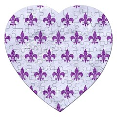 Royal1 White Marble & Purple Denim Jigsaw Puzzle (heart)