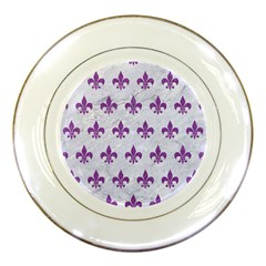 Royal1 White Marble & Purple Denim Porcelain Plates by trendistuff