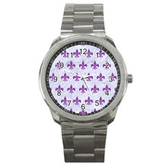 Royal1 White Marble & Purple Denim Sport Metal Watch by trendistuff