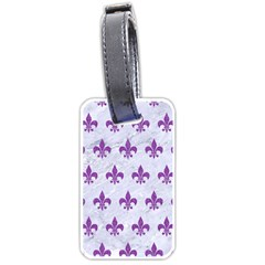 Royal1 White Marble & Purple Denim Luggage Tags (two Sides) by trendistuff