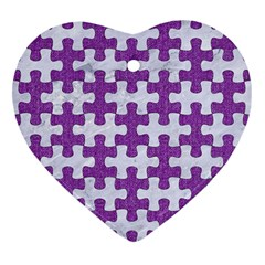 Puzzle1 White Marble & Purple Denim Heart Ornament (two Sides) by trendistuff