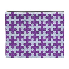 Puzzle1 White Marble & Purple Denim Cosmetic Bag (xl) by trendistuff