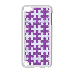 Puzzle1 White Marble & Purple Denim Apple Ipod Touch 5 Case (white) by trendistuff