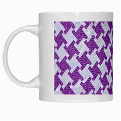 Houndstooth2 White Marble & Purple Denim White Mugs by trendistuff