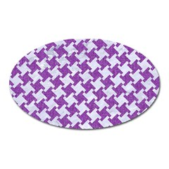 Houndstooth2 White Marble & Purple Denim Oval Magnet by trendistuff