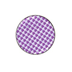 Houndstooth2 White Marble & Purple Denim Hat Clip Ball Marker (4 Pack) by trendistuff