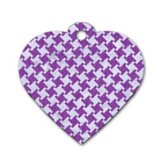 Houndstooth2 White Marble & Purple Denim Dog Tag Heart (one Side) by trendistuff