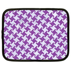 Houndstooth2 White Marble & Purple Denim Netbook Case (xxl)  by trendistuff