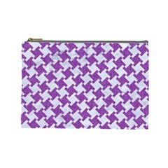 Houndstooth2 White Marble & Purple Denim Cosmetic Bag (large)  by trendistuff