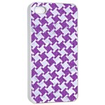 HOUNDSTOOTH2 WHITE MARBLE & PURPLE DENIM Apple iPhone 4/4s Seamless Case (White) Front