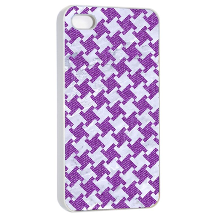 HOUNDSTOOTH2 WHITE MARBLE & PURPLE DENIM Apple iPhone 4/4s Seamless Case (White)
