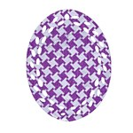 HOUNDSTOOTH2 WHITE MARBLE & PURPLE DENIM Ornament (Oval Filigree) Front