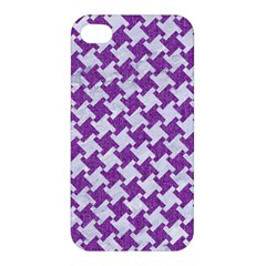Houndstooth2 White Marble & Purple Denim Apple Iphone 4/4s Hardshell Case by trendistuff