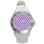 HOUNDSTOOTH2 WHITE MARBLE & PURPLE DENIM Round Plastic Sport Watch (L) Front