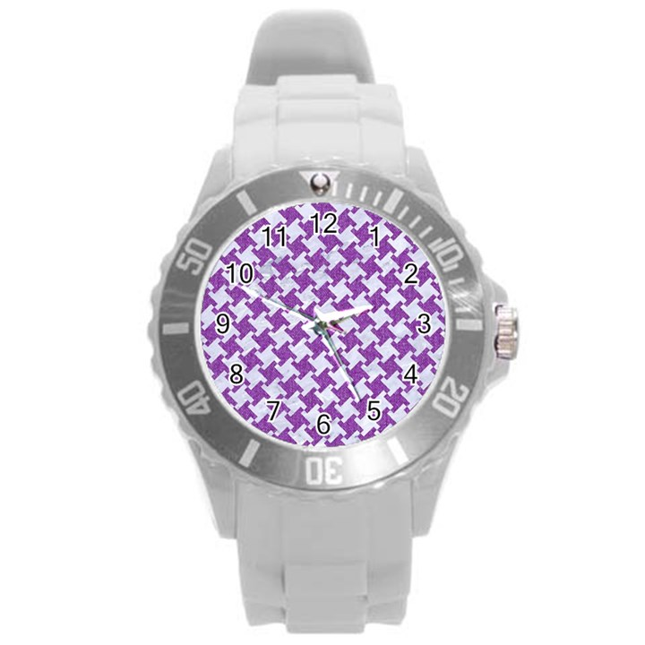 HOUNDSTOOTH2 WHITE MARBLE & PURPLE DENIM Round Plastic Sport Watch (L)