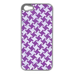 Houndstooth2 White Marble & Purple Denim Apple Iphone 5 Case (silver)