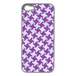 HOUNDSTOOTH2 WHITE MARBLE & PURPLE DENIM Apple iPhone 5 Case (Silver) Front