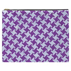 Houndstooth2 White Marble & Purple Denim Cosmetic Bag (xxxl)