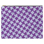 HOUNDSTOOTH2 WHITE MARBLE & PURPLE DENIM Cosmetic Bag (XXXL)  Front