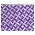 HOUNDSTOOTH2 WHITE MARBLE & PURPLE DENIM Cosmetic Bag (XXXL)  Back