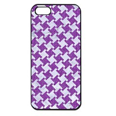 Houndstooth2 White Marble & Purple Denim Apple Iphone 5 Seamless Case (black)