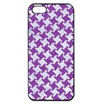 HOUNDSTOOTH2 WHITE MARBLE & PURPLE DENIM Apple iPhone 5 Seamless Case (Black) Front