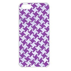 Houndstooth2 White Marble & Purple Denim Apple Iphone 5 Seamless Case (white)