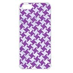 HOUNDSTOOTH2 WHITE MARBLE & PURPLE DENIM Apple iPhone 5 Seamless Case (White) Front
