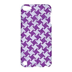 Houndstooth2 White Marble & Purple Denim Apple Ipod Touch 5 Hardshell Case by trendistuff