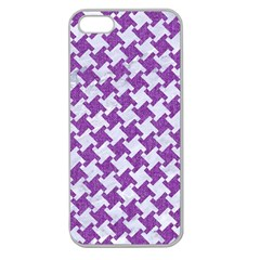 Houndstooth2 White Marble & Purple Denim Apple Seamless Iphone 5 Case (clear) by trendistuff