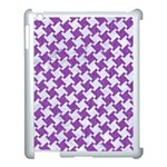 HOUNDSTOOTH2 WHITE MARBLE & PURPLE DENIM Apple iPad 3/4 Case (White) Front